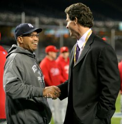 Jackson and O'Neill talk before New York Yankees take on Philadelphia Phillies in game 6 of the World Series at Yankee Stadium in New York