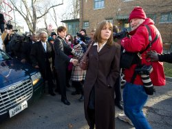Blagojevich and wife arrive home after being sentenced to 14 years in prison in Chicago