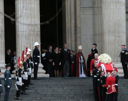 Coffin of Margaret Thatcher leaves St.Paul's Cathedral private Ceremony