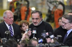 Chrysler Chairman and CEO Marchionne and Illinois Gov. Quinn Talk to Reporters in Belvidere, Illinois
