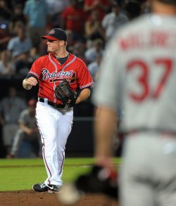 The Atlanta Braves play the St. Louis Cardinals in Atlanta