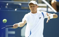 Nikolay Davydenko and Michael Russell compete at the U.S. Open in New York