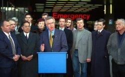 Joe Clark campaign stop at Vancouver General Hospital