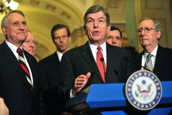 Sen. Roy Blunt speaks following the weekly party luncheons in Washington
