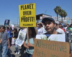 Thousands gather for the People's Climate March in Wilmington, California
