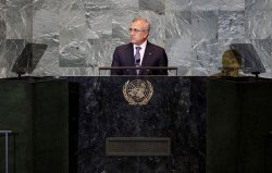 Michel Suleiman, President of Lebanon, at the 66th United Nations General Assembly at the UN in New York