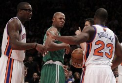 Boston Celtics Ray Allen and the New York Knicks Toney Douglas exchange words at Madison Square Garden in New York