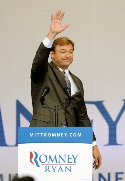 Dean Heller addresses supporters at a campaign event in Henderson, Nevada