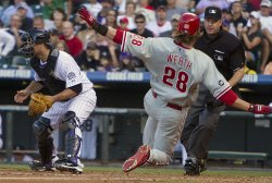 Phillies Werth Scores in the Fourth Inning Against the Rockies in Denver