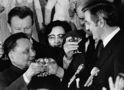 Deng Xiaoping toasts Walter Mondale at a reception at the Washington Liason office of China.