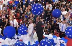 Clinton and Kaine participate in balloon drop at the DNC convention in Philadelphia
