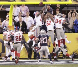 The Giants Stop the Final Hail Mary Play by the Patriots During Super Bowl XLVI in Indianapolis