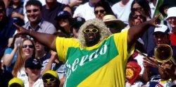 U.S. player Jennifer Johnson-Jordan blocks Australian ball