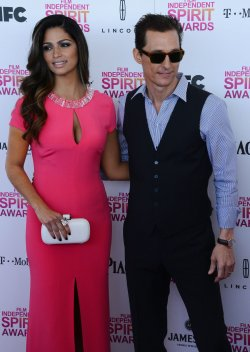 Matthew McConaughey and Camila Alves attend the 28th annual Film Independent Spirit Awards in Santa Monica, California