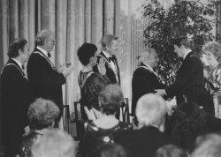 President and Nancy Reagan Congratulate the Award Recipients