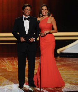 Rob Lowe and Sofia Vegara present an award at the 63rd annual Primetime Emmy Awards in Los Angeles