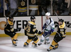 Bruins Marchand celebrates goal against Canucks in game 6 of the NHL Stanley Cup Finals in Boston, MA.