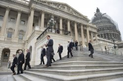 Members of Congress leave the Capitol before Recess