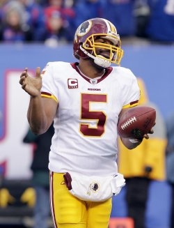 Washington Redskins Donovan McNabb reacts at New Meadowlands Stadium in New Jersey