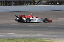 Helio Castroneves practices for inaugural Grand Prix of Indianapolis event at the Indianapolis Motor Speedway