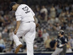 Seattle Mariners Brendan Ryan breaks up New York Yankees starting pitcher CC Sabathia's perfect game at Yankee Stadium in New York