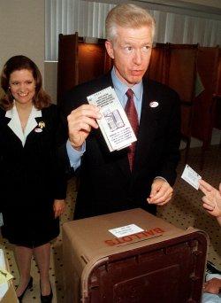 California Democratic gubernatorial candidate Gray Davis casts his ballot
