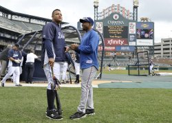 Cabrera and Chavez talk before game 5 of ALCS in Detroit, Michigan