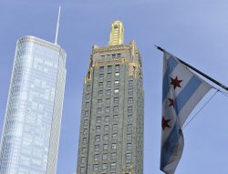 Trump Tower and Carbon and Carbide building share space in Chicago skyline