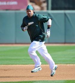 Oakland Athletics Manny Ramirez runs the bases in Phoenix, Arizona