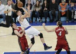 New York Knicks Kristaps Porzingis leaps to the basket