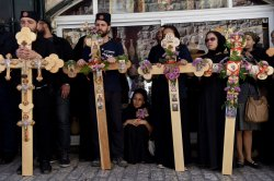 Orthodox Christians Stand With Crosses On Good Friday, Jerusalem
