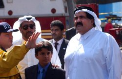 THE EMIR OF QATAR TOURS THE SITE OF THE WORLD TRADE CENTER DESTRUCTION