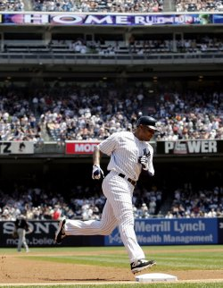 New York Yankees Andruw Jones hits a 2-run homer at Yankee Stadium in New York