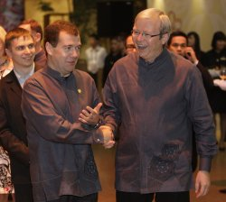 Russian President Medvedev attends the APEC leaders summit in Singapore