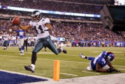 Philadelphia Eagles Steve Smith scores a touchdown at MetLife Stadium in New Jersey