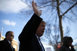Donald Trump visits polling station in Manchester, New Hampshire