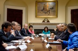U.S. President Obama meets with BP executives at the White House in Washington