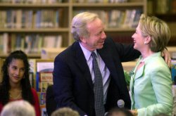 HILLARY AND LIEBERMAN CAMPAIGN TOGETHER FOR FIRST TIME