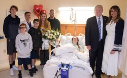 President Donald Trump Visits Wounded Students in Hospital