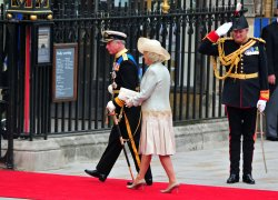 Prince Charles and Camilla, Duchess of Cornwall, arrive at Westminster Abbey in London