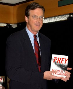 "Michael Crichton promos new book ""Prey"""