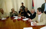 PRIME MINISTER AHMED QUREI ATTENDS A MEETING IN GAZA.