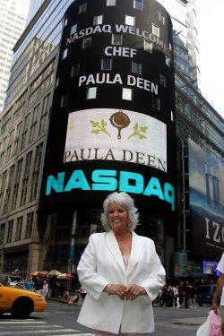 Paula Deen rings closing bell at the NASDAQ in New York