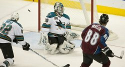Avalanche Mueller Scores Against Sharks Goalie Nabokov in Denver