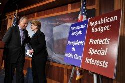 Democratic Senators hold a press conference on the Budget in Washington