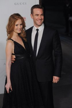 James Van Der Beek and Kimberly Brook attends the LACMA Art + Film gala in Los Angeles