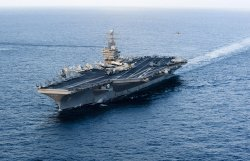 USS Abraham Lincoln Passes Through the Strait of Hormuz