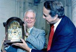 SENATOR ROBERT BYRD RECEIVES A CLOCK FROM SENATOR ROBERT DOLE