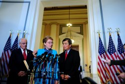 Rep. Marcy Kaptur (D-OH) (C), Rep. Bill Pascrell (D-NY) and Rep. David Wu (D-OR) speak in Washington