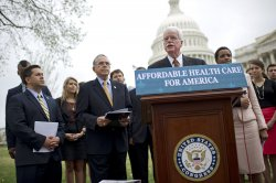 Rep. George Miller (D-CA) speaks at a press conference on the Affordable Care Act in Washington